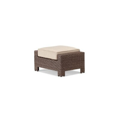 Lake Shore Ottoman with Cushion Fabric: Strickland, Finish: Java Wicker
