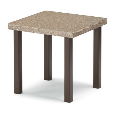 Synthestone Square SideTable Frame Finish: Textured Silver, Top Finish: Caramel
