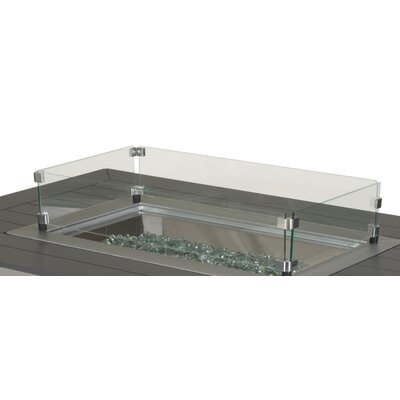 Rectangular Glass Surround Fire Pit Table