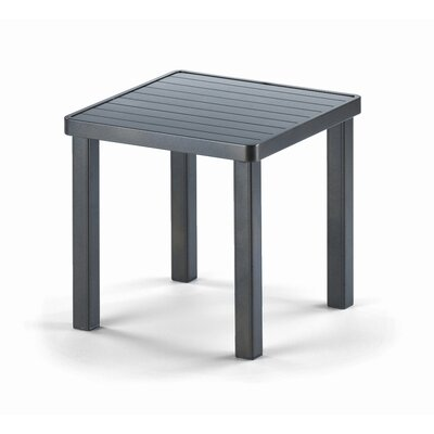 18 Square Aluminum Slat End Table Finish: Textured Beachwood