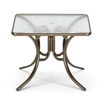 Glass Top Square Dining Table Finish: Textured Silver