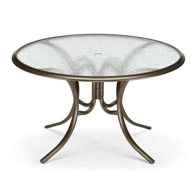 Glass Top Round Ogee Rim Dining Table Finish: Textured Silver