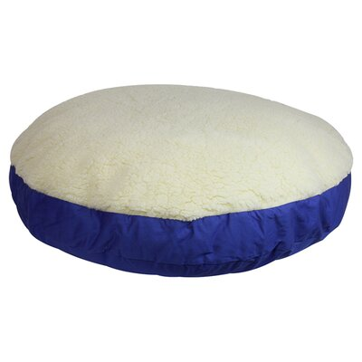 Round Dog Pillow Top Color: Cream, Size: Large (42 L x 42 W), Bottom Color: Denim