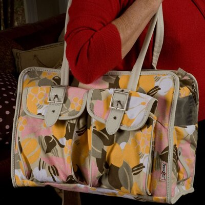 Slant Pocket Tote Pet Carrier Color: Pink/Yellow Floral
