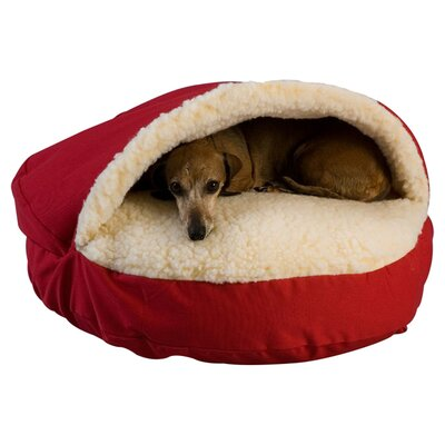 Cozy Cave Hooded Dog Bed Size: X-Large (45 L x 45 W), Color: Red