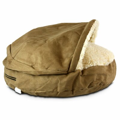 Cozy Cave Luxury Hooded Pet Bed Size: Small (25 W x 25 D), Color: Camel