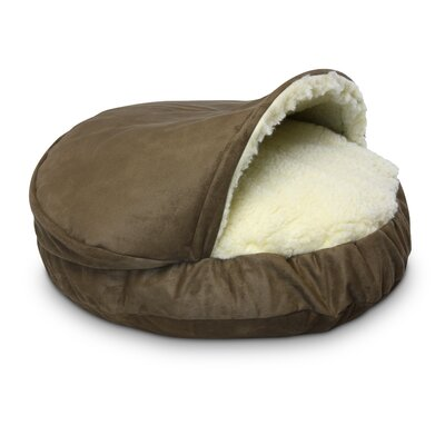 Cozy Cave Luxury Orthopedic Hooded Dog Bed Size: Small - 25 L x 25 W, Color: Peat