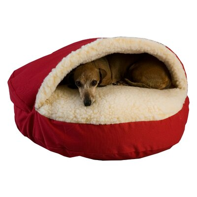 Cozy Cave Luxury Hooded Pet Bed Size: Small (25 W x 25 D), Color: Red