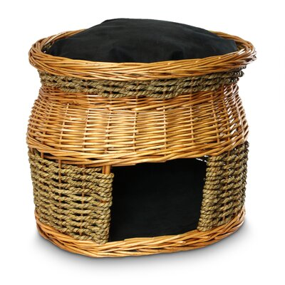 Snoozer Wicker Double Decker Cat Basket and Bed - Color: Black