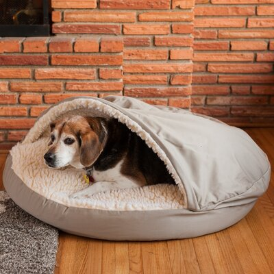 Cozy Cave Hooded Dog Bed Size: Large (35 L x 35 W), Color: Khaki