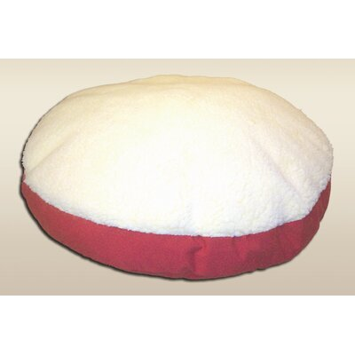 Round Dog Pillow Size: Small (24 L x 24 W), Bottom Color: Red, Top Color: Cream