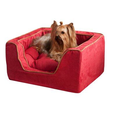 Luxury Square Pet Bed with Memory Foam Color: Pink / Pink, Size: X-Large (31 W x 27 D)