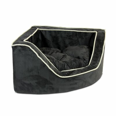 Luxury Corner Bolster Dog Bed Size: Small (22 L x 22 W), Color: Black/Herringbone