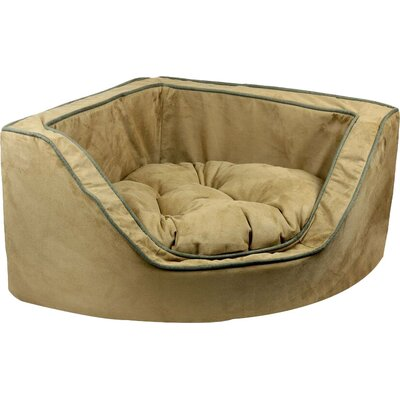 Luxury Corner Bolster Dog Bed Size: Small (22 L x 22 W), Color: Camel w/ Olive Piping