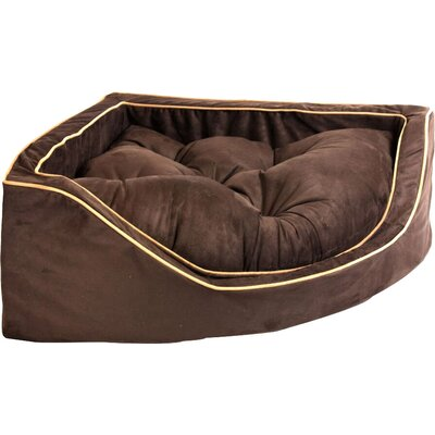 Luxury Corner Bolster Dog Bed Size: Small (22 L x 22 W), Color: Hot Fudge/Cafe