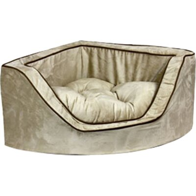 Luxury Corner Bolster Dog Bed Size: Small (22 L x 22 W), Color: Buckskin/Java