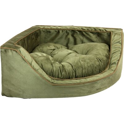 Luxury Corner Bolster Dog Bed Size: Medium (25 L x 25 W), Color: Olive/Coffee