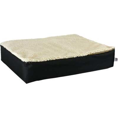 Super Orthopedic Lounge Dog Pillow Size: X-Large (54 L x 36 W), Color: Black with Cream Sherpa Top