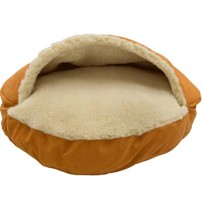 Orthopedic Luxury Cozy Cave Hooded Dog Bed Size: Large (35 L x 35 W), Color: Orangeade