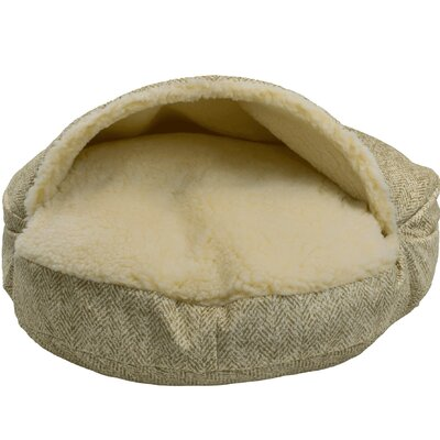 Snow Dog Orthopedic Premium Cozy Cave Hooded Dog Bed with Sherpa Interior Size: Large (35 L x 35 W), Color: Palmer Citron