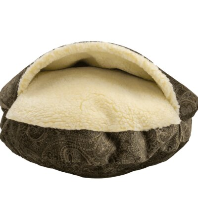 Snow Dog Orthopedic Premium Cozy Cave Hooded Dog Bed with Sherpa Interior Size: Small (25 L x 25 W), Color: Laurel Mocha