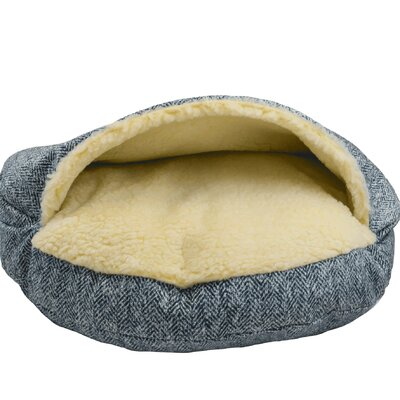 Snow Dog Orthopedic Premium Cozy Cave Hooded Dog Bed with Sherpa Interior Size: Small (25 L x 25 W), Color: Palmer Indigo