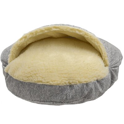 Snow Dog Orthopedic Premium Cozy Cave Hooded Dog Bed with Sherpa Interior Size: Small (25 L x 25 W), Color: Palmer Dove