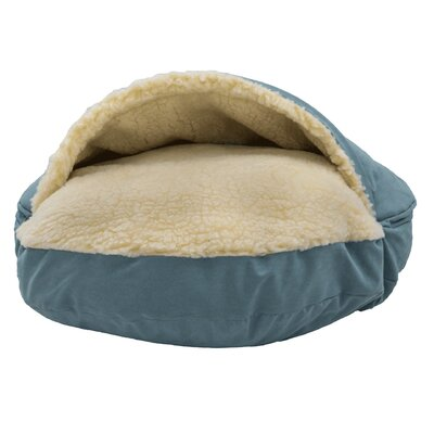 Luxury Cozy Cave Hooded/Dome Dog Bed Color: Aqua, Size: Large (35 L x 35 W)