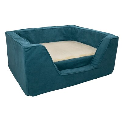 Luxury Solids Micro Suede Bolster with Memory Foam Size: Medium (23 L x 19 W), Color: Marine