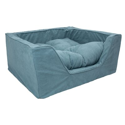 Luxury Solids Micro Suede Bolster Color: Aqua, Size: Medium (23 L x 19 W)