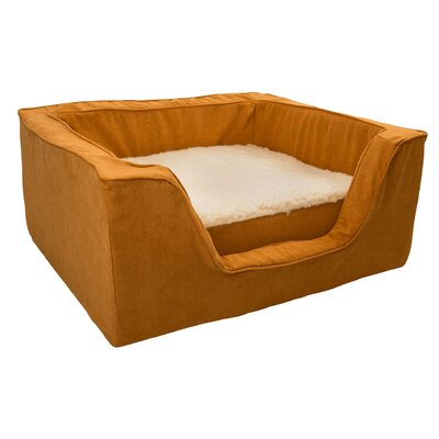 Luxury Solids Micro Suede Bolster with Memory Foam Size: Medium (23 L x 19 W), Color: Orangeade