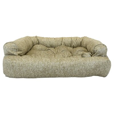 Show Dog Premium Overstuffed Bolster Dog Bed Color: Palmer Citron, Size: Small (30 L x 20 W)