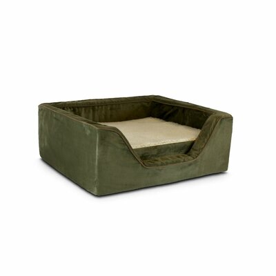 Luxury Square Pet Bed with Memory Foam Color: Olive / Coffee, Size: Medium (23 W x 19 D)