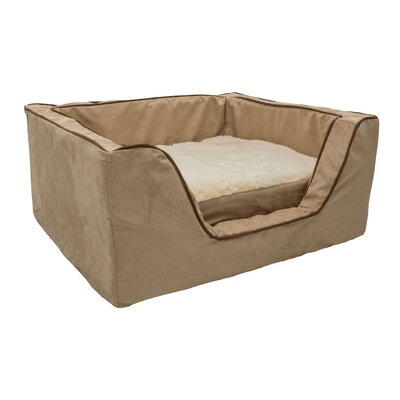 Luxury Square Pet Bed with Memory Foam Size: Medium (23 W x 19 D), Color: Peat / Coffee