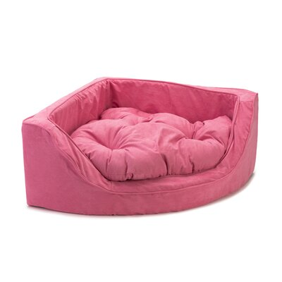 Luxury Corner Bolster Dog Bed Size: Small (22 L x 22 W), Color: Pink/Pink
