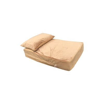 Pillow Rest Lounger Dog Mat with Latte Fur Top Size: 30 W x 20 D x 5 H, Color: Camel/Cappuccino