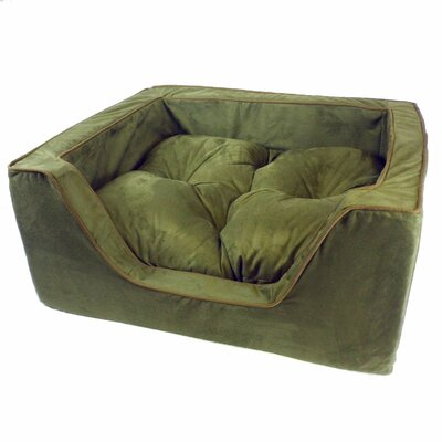 Luxury Square Nest Dog Bed Size: Medium (23 W x 19 D x 12 H), Color: Olive/Coffee