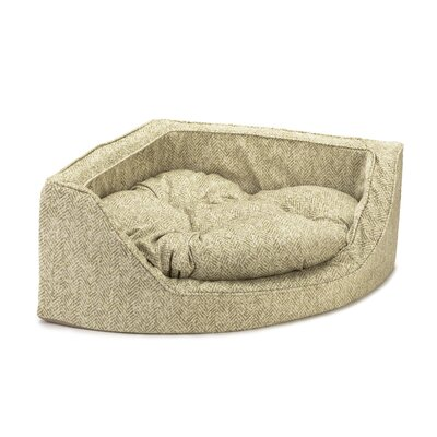 Premium Corner Bolster Dog Bed Size: Medium (25 W x 25 D), Color: Palmer Citron