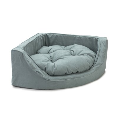 Luxury Corner Bolster Dog Bed Size: Small (22 L x 22 W), Color: Aqua