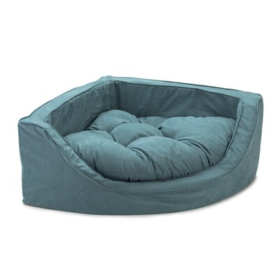 Luxury Corner Bolster Dog Bed Size: Medium (25 L x 25 W), Color: Marine