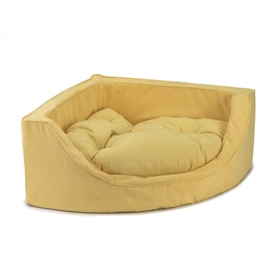 Luxury Corner Bolster Dog Bed Size: Small (22 L x 22 W), Color: Lemon