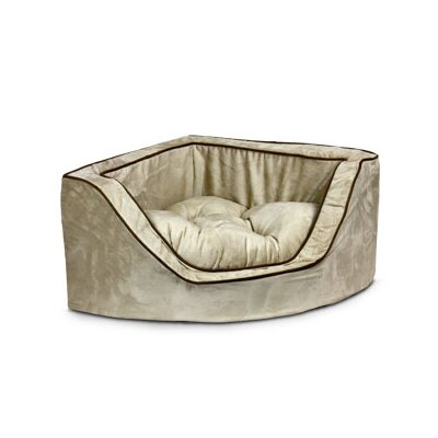 Luxury Corner Bolster Dog Bed Size: Small (22 L x 22 W), Color: Peat/Coffee