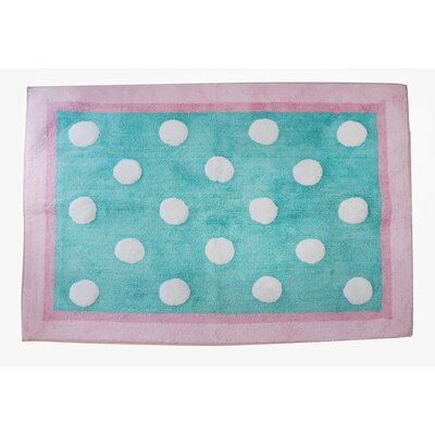 Pixie Baby Aqua Polka Dot Kids Area Rug