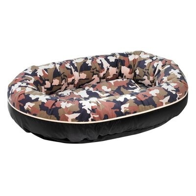Diam Microvelvet Orbit Donut Dog Bed Size: Medium (35 L x 27 W), Color: Herringbone (storm)