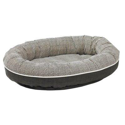Diam Microvelvet Orbit Donut Dog Bed Size: Small (27 L x 22 W), Color: Herringbone (storm)
