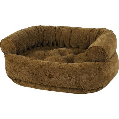 Double Bolster Dog Bed Size: Small (27 L x 22 W), Color: Pecan Filigree