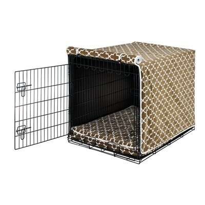 Luxury Dog Crate Cover II Size: Medium (21 H x 19 W x 30 D), Color: Cedar Lattice (White)