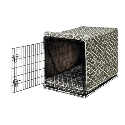 Luxury Dog Crate Cover II Size: X-Large (30 H x 28 W x 42 D), Color: Graphite Lattice (Acorn)