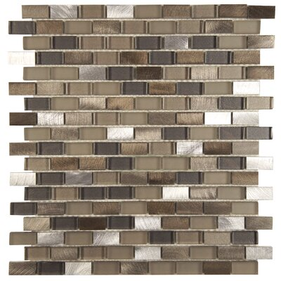 Commix 0.5 x 1.875 Glass/Brushed Aluminum Mosaic Tile in Brown/White