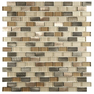 Commix Brushed 0.5 x 1.875  Aluminum/Glass Mosaic Tile in Amador